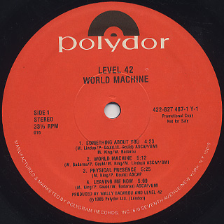 Level 42 / World Machine label