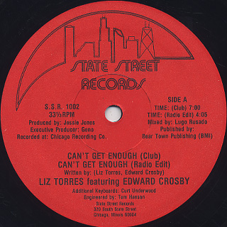 Liz Torres Featuring Edward Crosby / Can't Get Enough front
