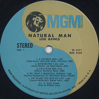 Lou Rawls / Natural Man label