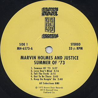 Marvin Holmes And Justice / Summer Of '73 label