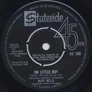 Mary Wells / My Guy c/w Oh Little Boy (What Did You Do To Me) back