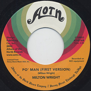 Milton Wright / The Silence That You Keep (First Version) c/w Po' Man back