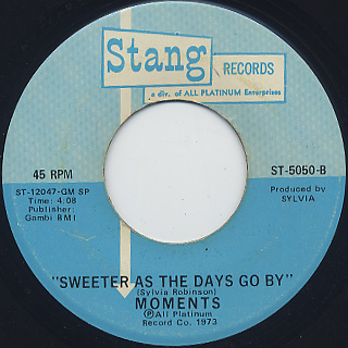 Moments / Gotta Find A Way c/w Sweeter As The Days Go By back
