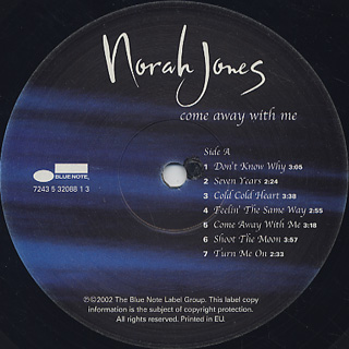 Norah Jones / Come Away With Me label