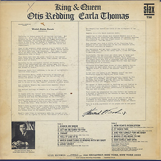 Otis Redding, Carla Thomas / King & Queen back