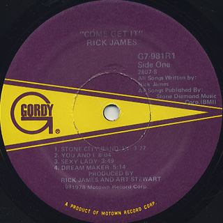 Rick James / Come Get It label