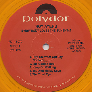 Roy Ayers Ubiquity / Everybody Loves The Sunshine (Yellow) label