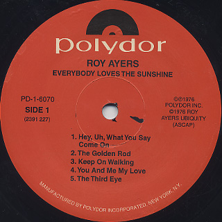 Roy Ayers Ubiquity / Everybody Loves The Sunshine label