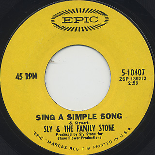 Sly And Family Stone / Everyday People c/w Sing A Simple Song (EX-) back