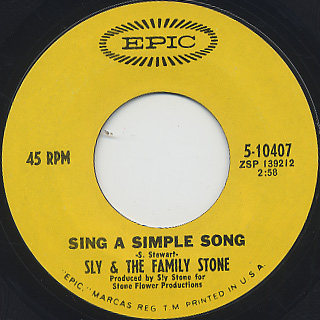 Sly And Family Stone / Everyday People c/w Sing A Simple Song (VG+) back