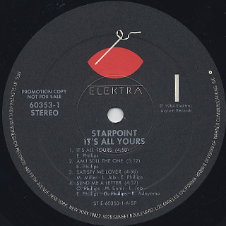Starpoint / It's All Yours label