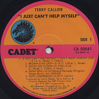 Terry Callier / I Just Can't Help Myself label