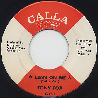 Tony Fox / Lean On Me c/w Grass Roots front
