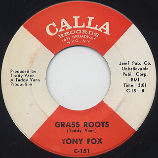 Tony Fox / Lean On Me c/w Grass Roots back