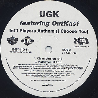 UGK / Int'l Players Anthem (I Choose You) back