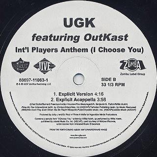 UGK / Int'l Players Anthem (I Choose You) label