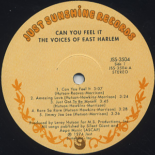 Voices Of East Harlem / Can You Feel It label