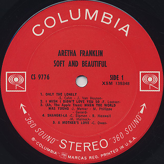 Aretha Franklin / Soft And Beautiful label