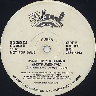 Aurra / Make Up Your Mind back