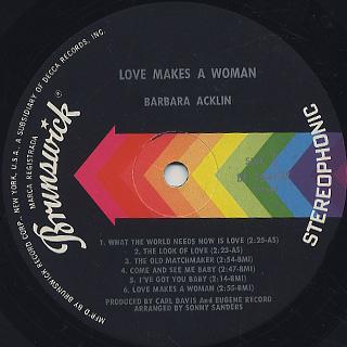 Barbara Acklin / Love Makes A Woman label