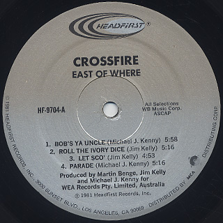 Crossfire / East Of Where label