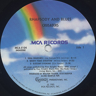 Crusaders / Rhapsody And Blues label