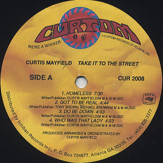 Curtis Mayfield / Take It To The Street label