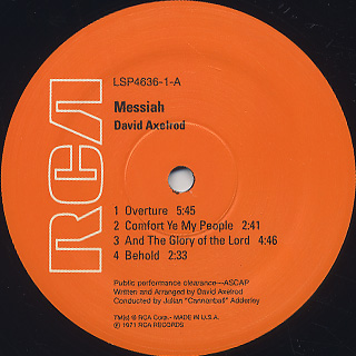 David Axelrod / Messiah label