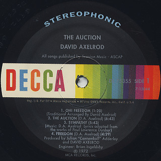 David Axelrod / The Auction label