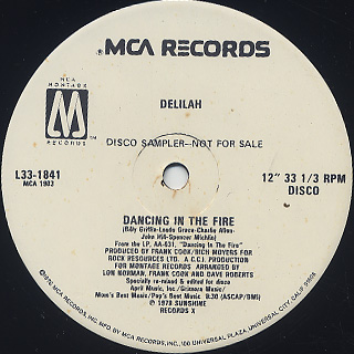 Delilah / Dancing In The Fire back