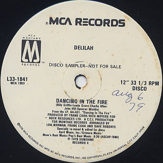 Delilah / Dancing In The Fire label