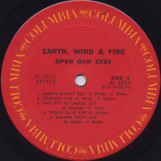 Earth, Wind & Fire / Open Our Eyes label