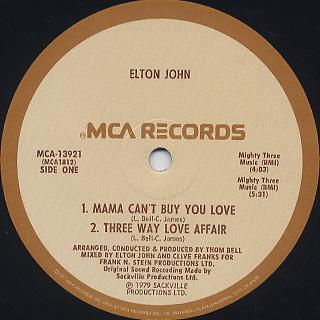 Elton John / The Thom Bell Sessions label