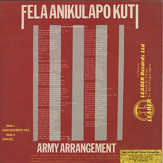 Fela Anikulapo Kuti / Army Arrangement back