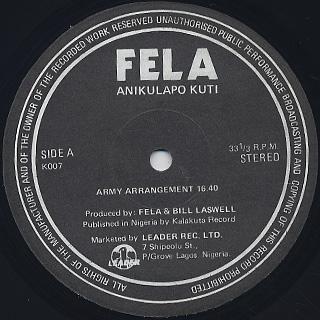 Fela Anikulapo Kuti / Army Arrangement label