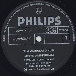 Fela Anikulapo Kuti & Egypt '80 / Live In Amsterdam label