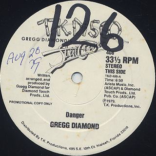 Gregg Diamond / Danger c/w Stand Up And Dance back