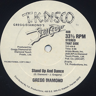 Gregg Diamond / Danger c/w Stand Up And Dance label