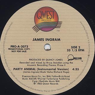 James Ingram / Party Animal back