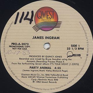 James Ingram / Party Animal label