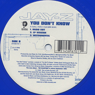 Jay-Z / Izzo (H.O.V.A) c/w You Don't Know label