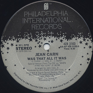 Jean Carn / Was That All It Was label