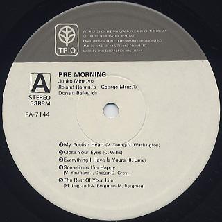Junko Mine with Roland Hanna Trio / Pre Morning label