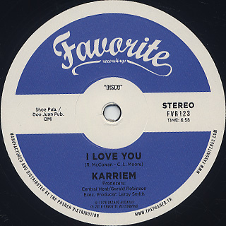 Karriem / I Love You label