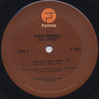 Kenny Burrell / Sky Street label