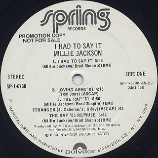 Millie Jackson / I Had To Say It label