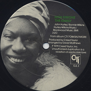 Nina Simone / The Family c/w Baltimore label