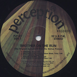 O.S.T.(Johnny Pate) / Brother On The Run label