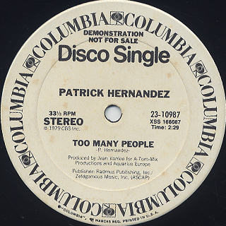 Patrick Hernandez / Born To Be Alive label
