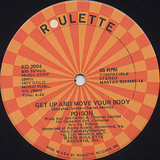 Poison / Get Up And Move Your Body c/w Camouflage / You've Got The Power back